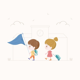 Kinderen lopen naar school. terug naar school-concept. jongen en meisje characterdesign.