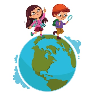 Kinderen lopen op planeet vectorillustratie