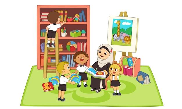 Kinderen luisteren verhaal door leraar in de klas