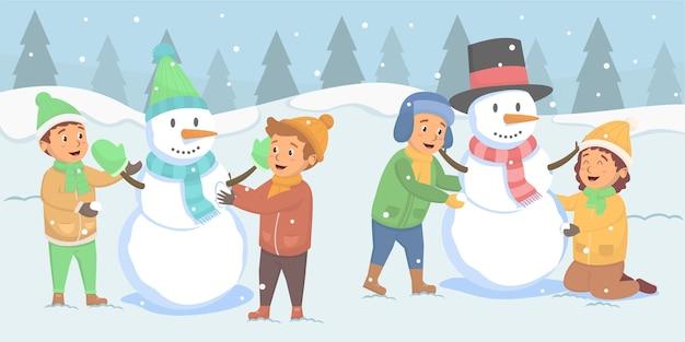 Kinderen maakten verschillende sneeuwpop op de buitenruimte illustratie