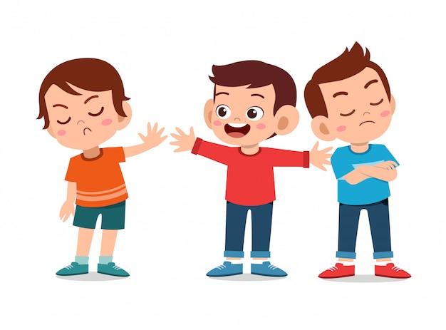 Kinderen maken ruzie met vriend
