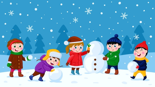 Kinderen maken sneeuwpop winter buitenactiviteit kerstvakantie leuk recreatie cartoon vector set