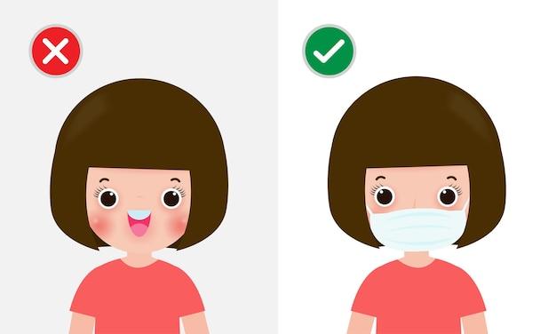 Kinderen markeren beschermend geen toegang zonder gezichtsmasker of masker dragen pictogram ja nee teken