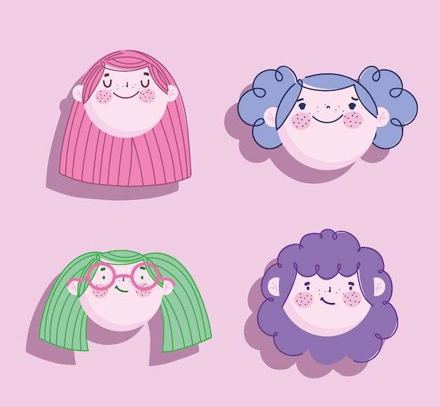 Kinderen, meisjes gezichten cartoon karakter vrouwelijke pictogrammenset illustratie