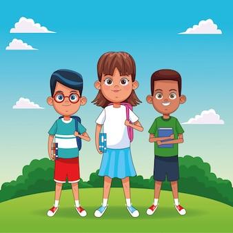 Kinderen met boeken cartoons