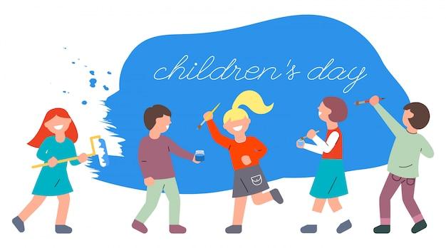 Kinderen met borstels en een rol schilderen de muur blauw. werelddag voor kinderen.