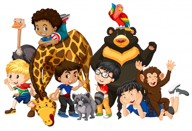 Kinderen met dieren geïsoleerd