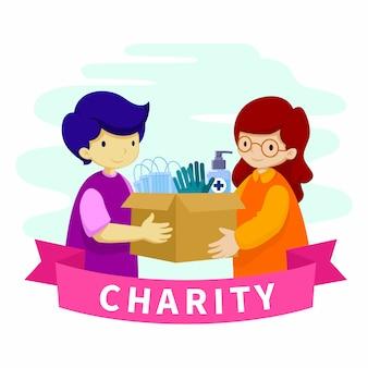 Kinderen met doos liefdadigheidsschenking platte ontwerp illustratie
