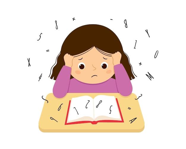 Kinderen met dyslexie en dyscalculie hebben moeite met het lezen van een boek. gestresst meisje dat hard huiswerk doet. dyslexie stoornis concept. vectorillustratie geïsoleerd op een witte achtergrond.