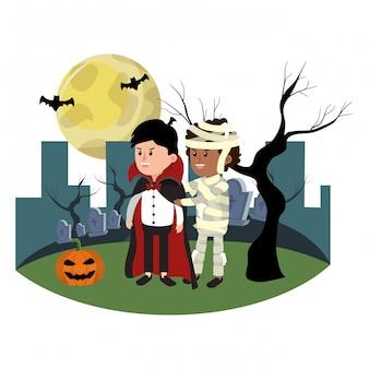Kinderen met grappige kostuums en boomtakken