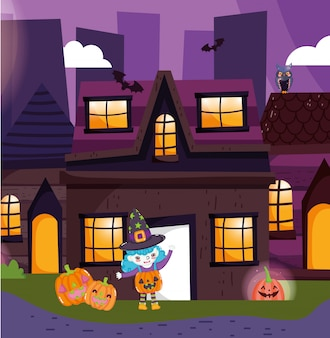 Kinderen met halloween kostuum