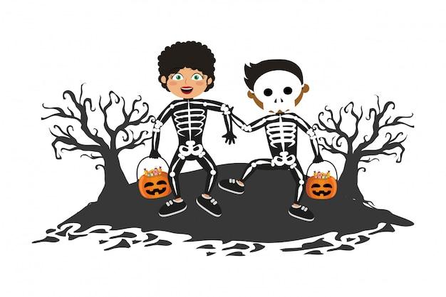 Kinderen met halloween-kostuums