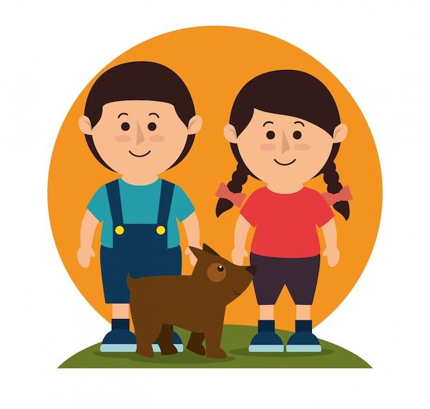 Kinderen met hondenhuisdier