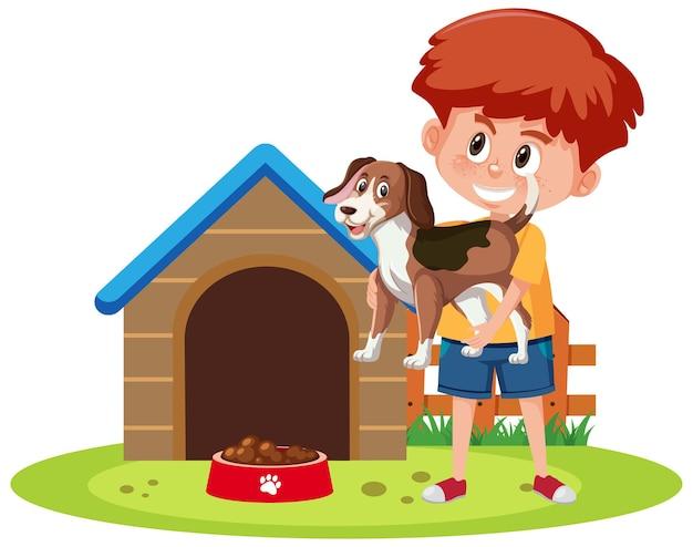 Kinderen met hun huisdieren geïsoleerd op een witte achtergrond