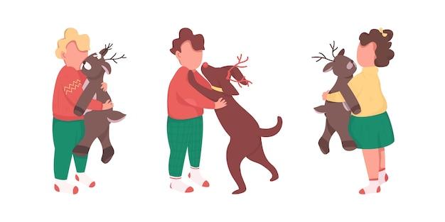 Kinderen met kerstcadeautjes egale kleur anonieme tekenset. jongen met huisdier. kinderen op wintervakantie geïsoleerde cartoon afbeelding voor web grafisch ontwerp en animatie collectie