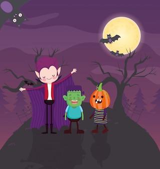 Kinderen met kostuum halloween afbeelding