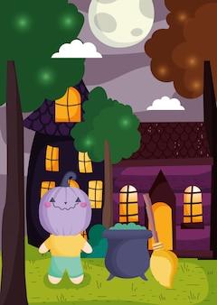 Kinderen met kostuum halloween