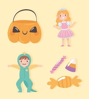 Kinderen met kostuumcartoon