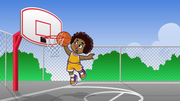 Kinderen met krullend haar spelen basketbal op het basketbalveld