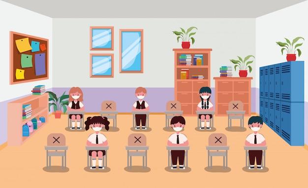 Kinderen met maskers in de klas