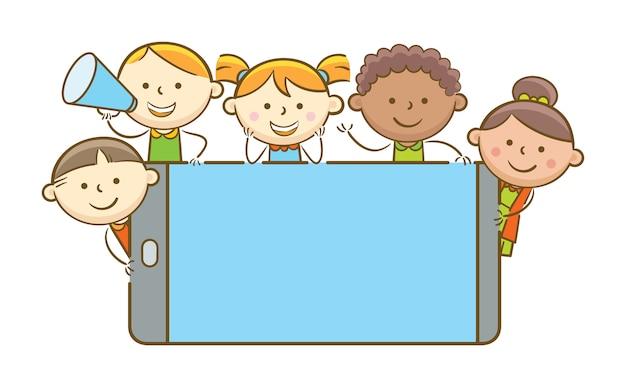 Kinderen met mobiele telefoon