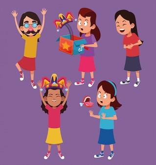 Kinderen met moppen cartoons