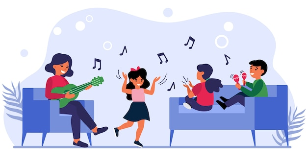 Kinderen met plezier op muziekles