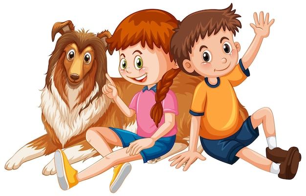 Kinderen met schattige hond stripfiguur