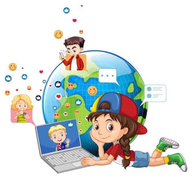 Kinderen met sociale media-elementen op aardebol