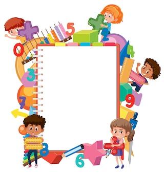 Kinderen met wiskunde-pictogramsjabloon