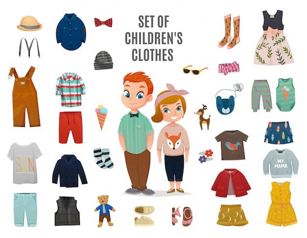 Kinderen mode grote icon set Gratis Vector