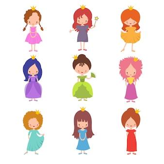 Kinderen modeshow karakters. kleine prinsessen meisjes vector set