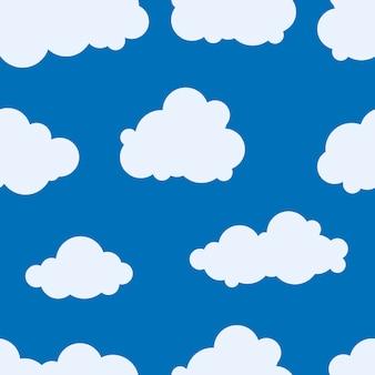 Kinderen naadloos patroon van blauwe wolken, beeldverhaalbehang.