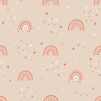 Kinderen naadloos patroonontwerp met regenbogen en confettien.