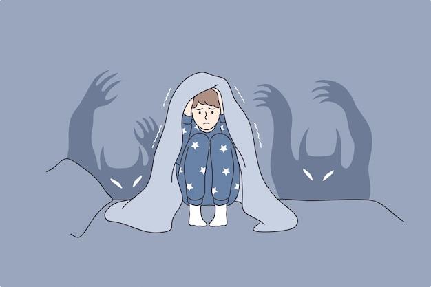 Kinderen nachtmerries en angsten concept