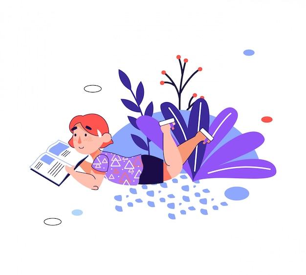 Kinderen onderwijs - meisje het lezen van een boek, cartoon illustratie