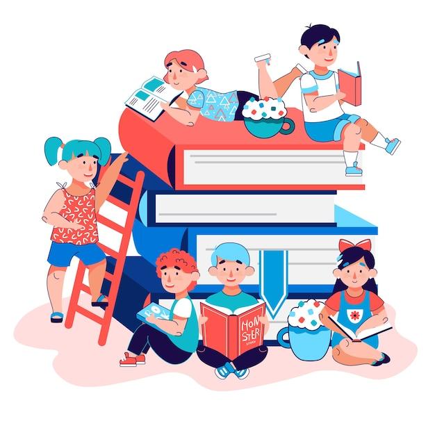 Kinderen onderwijs poster - cartoon kleuterschool kinderen samen lezen