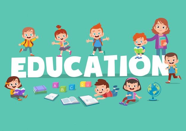 Kinderen onderwijs poster illustratie