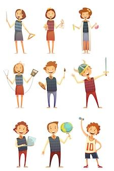 Kinderen onderwijs retro cartoon set van kinderen