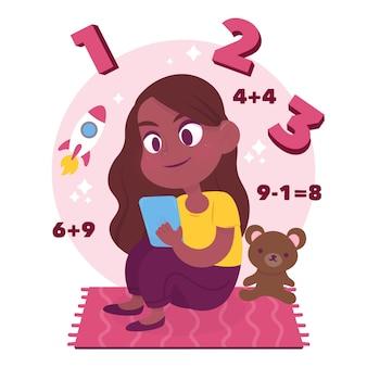 Kinderen online lessen concept