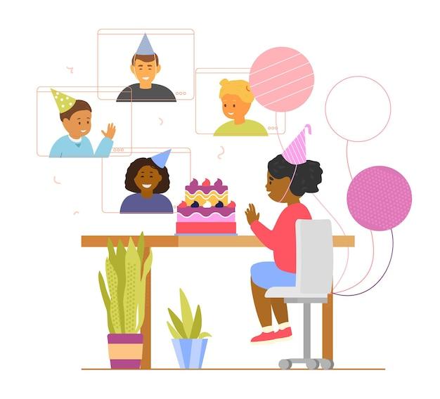 Kinderen online verjaardagsfeestje