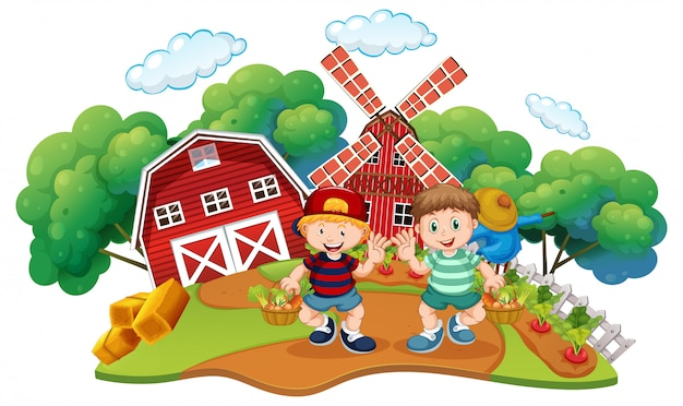Kinderen op de boerderij scène