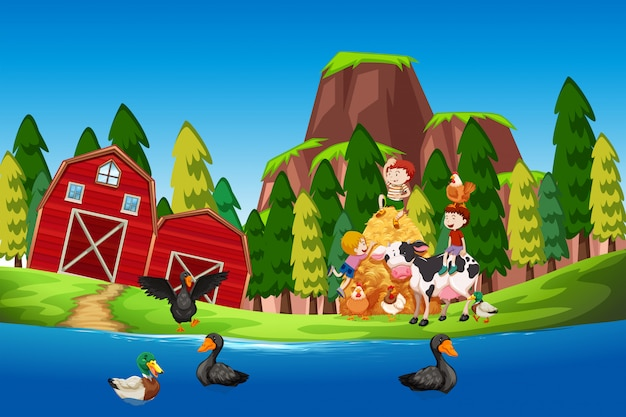 Kinderen op de landbouwgrond