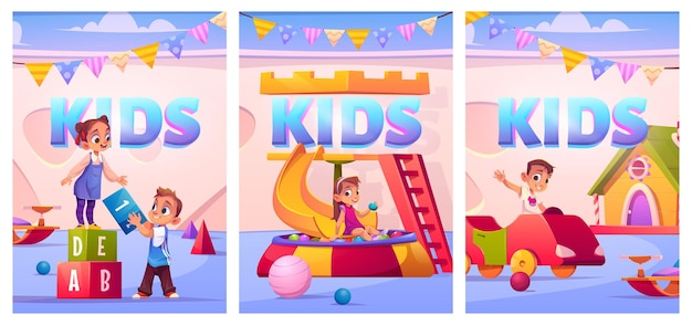 Kinderen op de speelplaats in posters van de kleuterschool