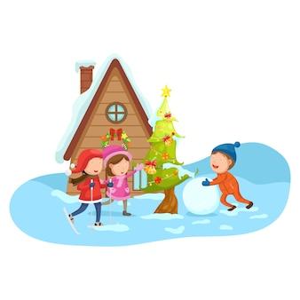 Kinderen op een winterlandschap