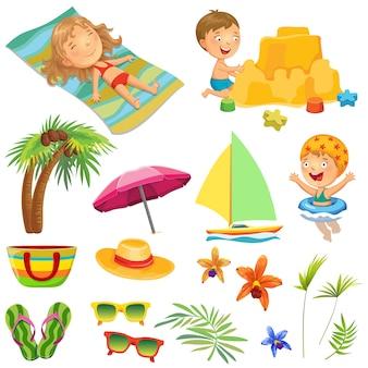Kinderen op het strand. verzameling.