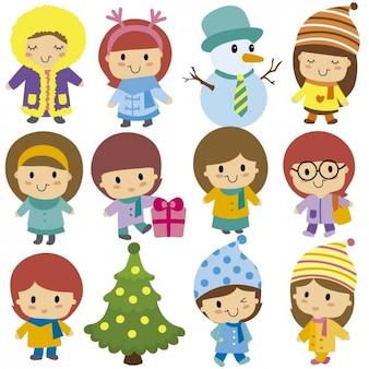 Kinderen op kerstmis