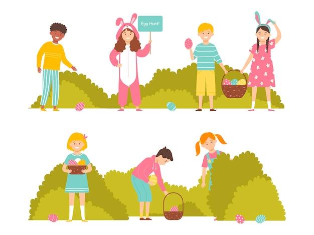 Kinderen op paaseierenjacht in de tuin set tekens vectorillustratie in vlakke stijl