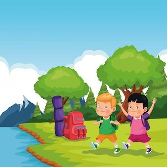 Kinderen op school excursie
