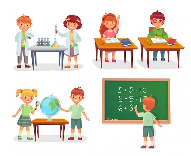 Kinderen op school les. leerlingen in scheikunde lab, leren aardrijkskunde en zitten aan een bureau, cartoon set